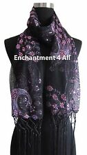 Elegant Handmade Lace Peacoc Scarf Shawl w Sequin & Crochet Fringe Black/Purple