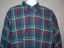 Pendleton Mens Button Front Long Sleeve Plaid Shirt Size XL Navy Green Cotton