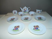 Child's Vintage 50's Porcelain China Tea Set 11 Pcs JAPAN Kiddles Girl & Boy