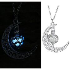 STEAMPUNK SILVER LADY HEART CRESCENT GLOWING IN THE DARK HOLLOW NECKLACE PENDANT