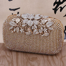 Women Evening Clutch Bag Crystal Rhinestone Flower Bridal Wedding Handbag Purse