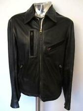 Armani Jeans Black Leather Biker Jacket EU54 Large XL RRP£595 Coat veste cuir