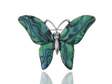 Color Medium Glossy Watermarks Abalone Shell Winged Butterfly Silver Pin Brooch