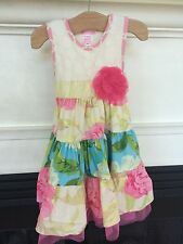 Giggle Moon Floral Dress sz 4 Pink Tiered Boutique