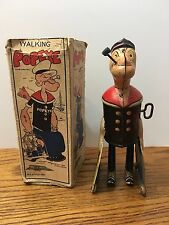 VINTAGE MARX TIN WIND UP WALKING POPEYE W/ PARROT CAGE LITHO TOY W/ BOX