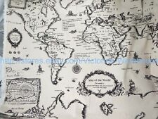 """1 yard vintage retro world map cotton linen sewing quilting  fabric 59"""" wide"""