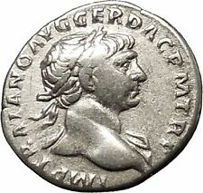 Trajan Authentic Ancient Silver Roman Coin Aequitas Justice Equality i53355