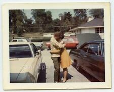 Romantic Young Couple Hug Between Muscle Cars Vintage 1960s Polaroid Photo