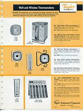 """1961 Vintage """"TAYLOR"""" Sales Sheet: Wall, Window & Desk Thermometers"""