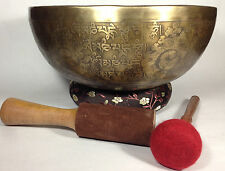 "10.5"" Double Dorje Tibetan Mantra Symbols carved Healing and Yoga Singing Bowl"