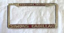 Simons Cadillac Dealer License Plate Frame Downtown Dayton Restored Fits 1956+