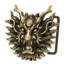 Buckle Rage Bronze Chinese Dragon Head with Pearl Snap On Belt Buckle Mythology
