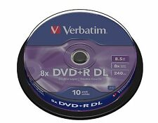 10 Verbatim DVD+R Double double couche 8.5 go 240 mins vide enregistrables dvd dl