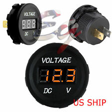 Orange LED Digital Waterproof Voltmeter Gauge Meter 12V-24V Car Auto Motorcycle
