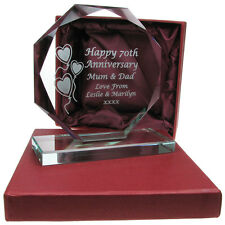 Engraved 50th Golden Wedding Anniversary Presentation Cut Glass Gift Idea