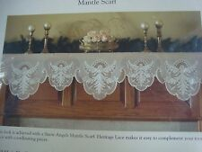 "NEW HERITAGE LACE CHRISTMAS MANTLE SCARF SNOW ANGELS AN1990MSV 19"" x 90"" vanilla"