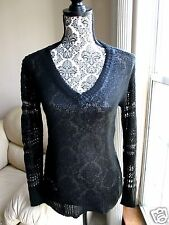 """NWT Rock & Republic """"Ice Queen"""" Black Sweater FREE SHIP XS extra small Goth"""