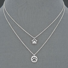 Two Simple Rhodium Silver Chain Paw Print Elegant Dainty Pendants Necklace