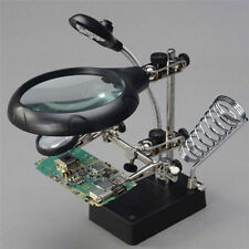 Useful Helping Hand Soldering Stand Magnifying Magnifier Glass 3 Lens 5LED Light
