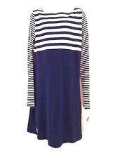 Ralph Lauren Girls Dress Blue Dress Striped Top Sm Striped Sleeves Size 5 NWT