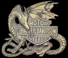 Rare Vtg 1983 Harley Davidson Motorcycle Flying Dragon Brass Baron Belt Buckle