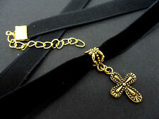 A LADIES GIRLS 10MM BLACK VELVET & GOLD  CROSS CHOKER NECKLACE . NEW.