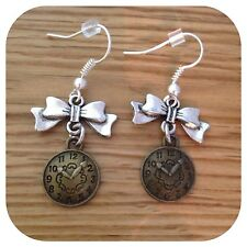 *Alice in Wonderland* mini Bow I'm late clock EARRINGS