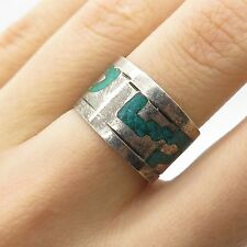 Mexico Vtg 925 Sterling Silver Turquoise Inlay Wide Tribal Band Ring Size 6.5