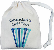GRANDAD'S GOLF TEES - TINY NATURAL COTTON DRAWSTRING BAG - Golf Storage