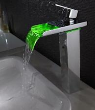 LED High Quality Bathroom Brass Waterfall LED Basin Sink Mixer Faucet Tap