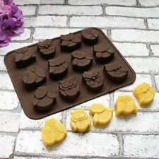 Cake Mold Soap Mold 12-Owl Flexible Silicone Mould For Candy Chocolate Design
