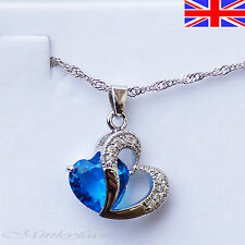 Ladies 925 Silver Heart Necklace Blue Crystal Pendant Free Gift Bag