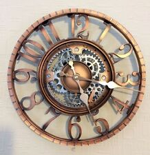 Wall Clock 12 inch Rustic Style Copper Case Skeleton & Cogs