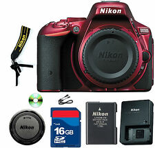 Nikon  D5500  D SLR Camera - Red (Body Only)- CellTime Kit with 16 GB SD Card