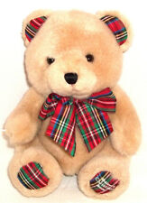 First Impressions Baby's Christmas Plush Bear RATTLE w/ Plaid Ears Feet Bow