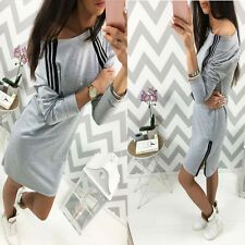 2017 Gray Women Winter Strapless Zipper Long-sleeved One Shoulder Mini Dress L
