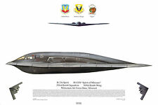 Squadron Print 501 B2A Spirit USAF Whiteman AFB 393BS 509BW Aviation Profile Art