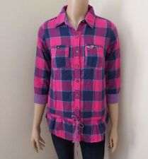NWT Hollister Womens Plaid Button Down Tunic Shirt Size Small Top Purple Pink