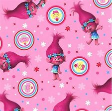 1/2 yard Dreamworks Trolls Poppy Cupcake Toss Pink cotton fabric
