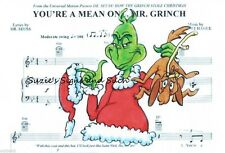 The Grinch Christmas Fabric Block You're a Mean One Mr Grinch Sheet Music