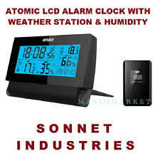 Wireless Weather Station Atomic Radio Controlled LCD Alarm Clock Color Display
