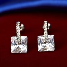 18K Yellow Gold Plated Simulated Diamond Square Cut Stud Earrings