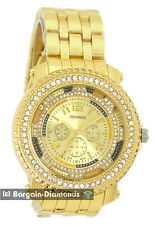 """mens gold CZ ice out clubbing watch bling skeleton dial 8"""" link bracelet"""