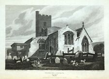 WOOBURN CHURCH. Nr.MARLOW, BUCKINGHAMSHIRE, original antique print 1822