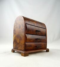 ART DECO BURL WOOD JEWELRY CASE MINIATURE CHEST OF DRAWERS DESK OBJECTS ANTIQUE