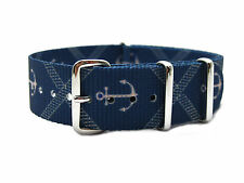 HNS ZULU Double Graphic Printed Anchors Blue BG Heavy Duty Nylon Mod Strap