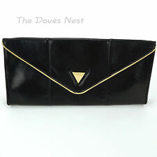 GUESS Faux Leather BLACK CLUTCH Handbag GOLD Trim ENVELOPE BAG Purse EUC