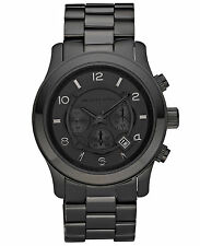 NEW MICHAEL KORS MK8157 BLACK TONE MEN'S CHRONO RUNWAY WATCH - 2 Y. WARRANTY