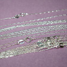 "5 pcs 16.5"" 42cm Diamond Cut Sterling Silver 925 1mm FIGARO CHAIN NECKLACES Lot"