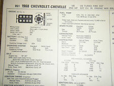 1968 CHEVROLET CHEVELLE TURBO FIRE 327 C I 250 HP 4 BBL SUN TUNE UP SPECS SHEET